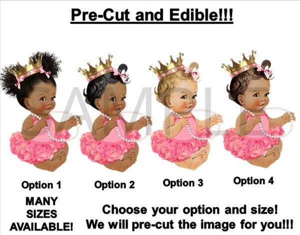 PRE-CUT Dark Pink Gold Ballerina Princess Baby Girl EDIBLE Cake Topper Image