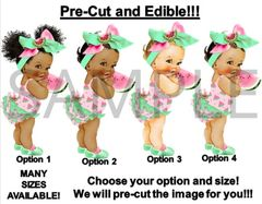 PRE-CUT Light Pink Green Watermelon Theme Head Bow Baby EDIBLE Cake Image Cupcakes