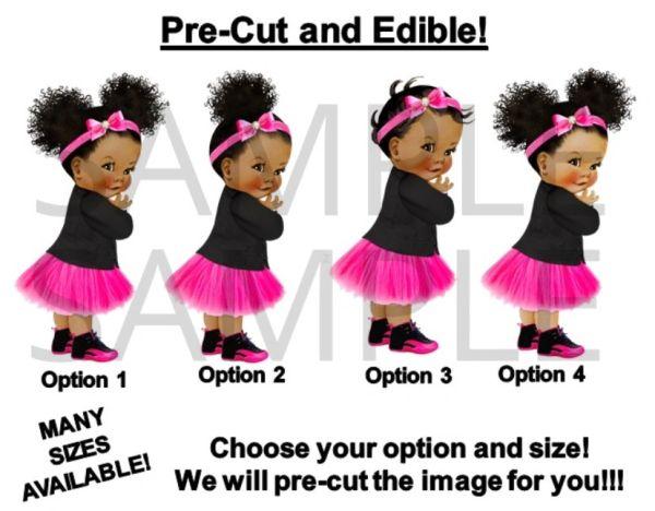 Pre Cut Hot Pink And Black Boss Baby Girl Tutu Sneakers Edible Cake Topper Image