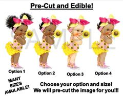 PRE-CUT Yellow and Pink Baby Girl Sunflower Bow EDIBLE Cake Topper Image