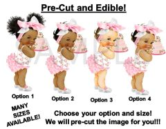 PRE-CUT Light Pink and White Baby Cakes Head Bow Baby Girl EDIBLE Cake Topper Image