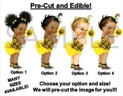 PRE-CUT Yellow Brown Green Sunflower Baby Girl EDIBLE Cake Topper Image