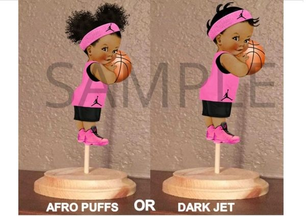 PRE CUT Pink and Black Baby Girl Basketball Player Centerpiece with Wood Stand OR Card Stock Cut Outs
