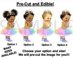 PRE-CUT Pastel Rainbow Colors Princess Baby Tiara Sneakers EDIBLE Cake Topper Image