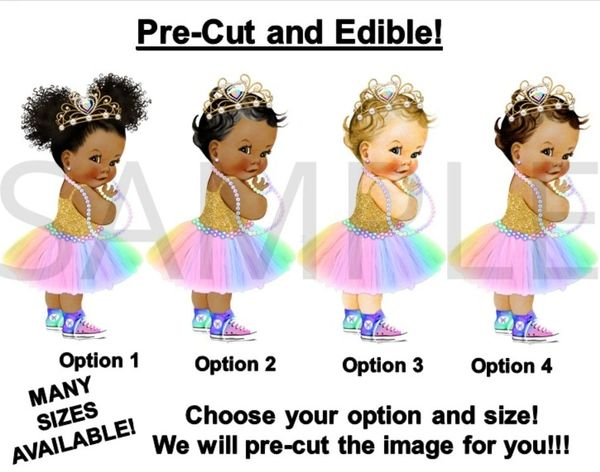 PRE-CUT Pastel Rainbow Colors Princess Baby Tiara Sneakers EDIBLE Cake Topper Image
