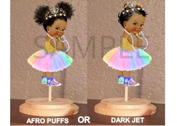 PRE CUT Pastel Rainbow Colors Princess Baby Tiara Sneakers Centerpiece with Wood Stand OR Card Stock Cut Out
