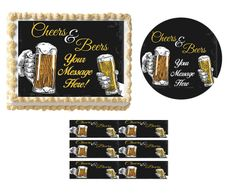 Cheers and Beers Birthday Congratulations EDIBLE Cake Topper Image Cupcakes Strips