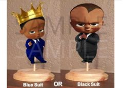 PRE CUT Dark Skin American Boss Baby Boy Royal Suit Centerpiece with Wood Stand OR Card Stock Cut Out