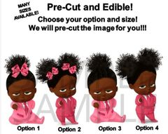 PRE-CUT African American Sassy Boss Baby Girl Pink Suit EDIBLE Cake Topper Image