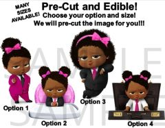 PRE-CUT Hot Pink Fuschia Black African American Sassy Boss Baby Girl EDIBLE Cake Topper Cupcakes, Boss Baby Highchair, Boss Girl Briefcase