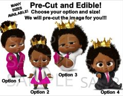 PRE-CUT Hot Pink Fuschia Black Royal African American Sassy Boss Baby Girl EDIBLE Cake Topper Cupcakes, Boss Baby Cupcakes, Royal Boss Baby
