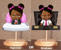 PRE CUT Hot Pink Fuschia Black African American Sassy Boss Baby Girl Centerpiece with Wood Stand OR Card Stock CutOut, Boss Baby Highchair