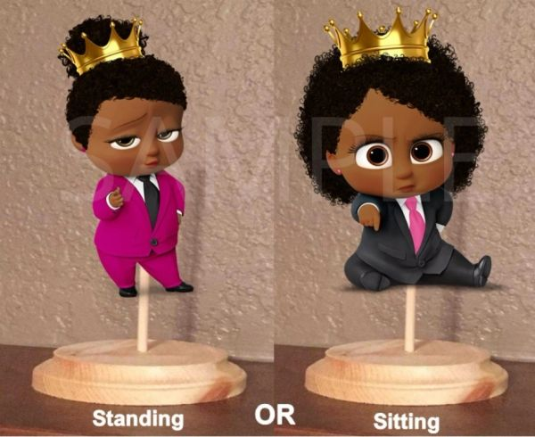 PRE CUT Hot Pink Fuschia Black Royal African American Sassy Boss Girl Centerpiece with Wood Stand OR Card Stock CutOut, Royal Boss Baby Girl