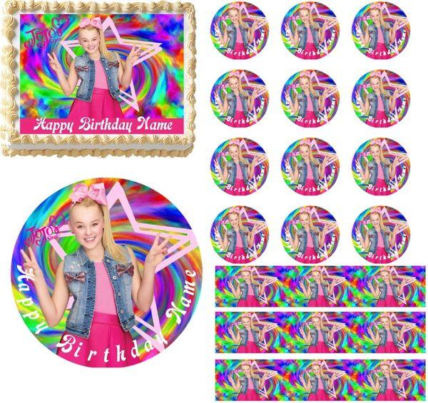 JoJo Siwa Rainbow Colors EDIBLE Cake Topper Cupcakes Sugar Sheet Decoration