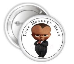 "African American Boss Baby Boy Black Suit Pinback Buttons, 2.25"" Party Favor Pins Buttons, Boss Baby Pins Buttons, Boss Baby Theme Party"