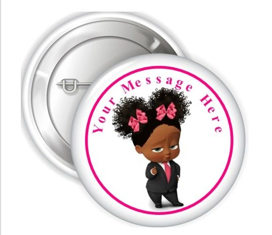 "African American Boss Baby Girl Pink Bows Pinback Buttons, 2.25"" Party Favor Pins Buttons, Boss Baby Girl Pin Buttons, Personalized Buttons"
