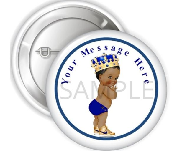 "Royal Blue and Gold Little Prince Boy Pinback Buttons, 2.25"" Party Favor Pins Buttons, Baby Shower Pins Decorations, Personalized Buttons"