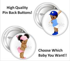 "Pink and Blue Baseball Babies of Color Girl Boy Pinback Buttons, 2.25"" Party Favor Pins Buttons, Gender Reveal Buttons, Sports Theme Buttons"