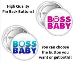 """African American Boss Baby Girl or Boy Words Pinback Buttons, 2.25"""" Party Favor Pins Buttons, Boss Baby Shower Buttons, Boss Baby Party Pins"""