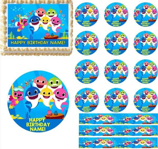Baby Shark Family Edible Cake Topper Decoration Cupcakes Baby Shark Cake Sharks