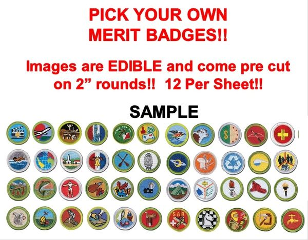 Pre Cut Pick Your Own Boy Scout Merit Badges EDIBLE Decal Stickers for Cake Cupcakes, Merit Badge Cake, Merit Badge Cupcakes, Boy Scout Cake