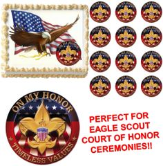 Eagle Scout ON MY HONOR Court of Honor Ceremony Edible Cake Topper Image Frosting Sheet