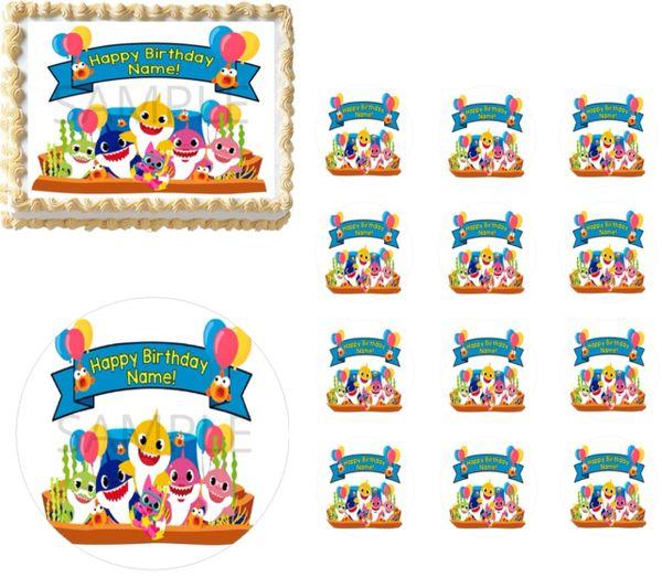 Baby Shark Family Birthday Banner Edible Cake Topper Decoration Cupcakes Baby Shark Cake Sharks