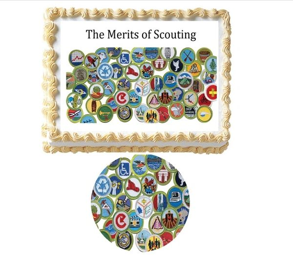 The Merits of Scouting Merit Badges Edible Cake Topper Image, Eagle Scout Cake, Merit Badge Collage, Court of Honor Cake, Boy Scouting Cake