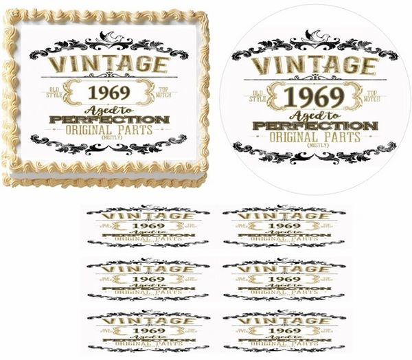 Vintage Aged to Perfection Original Parts Year EDIBLE Cake Topper Image Cupcakes, Aged Perfection Cake, Over the Hill Cake, Original Parts