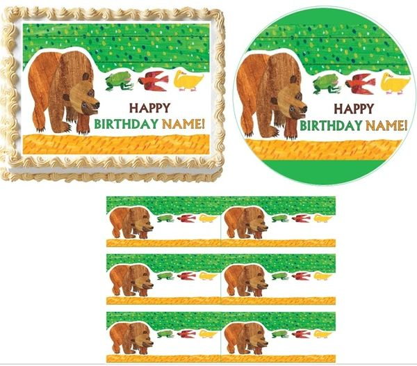Brown Bear Brown Bear What Do You See EDIBLE Cake Topper Image Cupcakes, Brown Bear Cake, Brown Bear Cupcakes