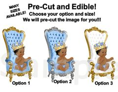 Pre Cut Light Blue Little Prince Baby Sitting on Throne EDIBLE Cake Image Cupcakes, Little Prince Cake Baby Shower Prince Throne Crown Gold