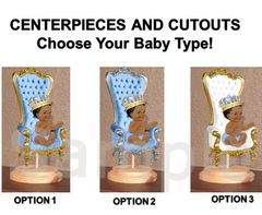 Pre Cut Light Blue Little Prince Baby Sitting on Throne Centerpiece with Wood Stand OR Cutouts, Little Prince Baby Shower Throne Crown Gold