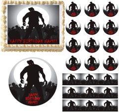 ZOMBIE SILHOUETTE Zombies Edible Cake Topper Image Frosting Sheet