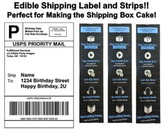 Amazon Shipping Label Tape Strips Box Cake Edible Cake Topper Image, Shipping Label Cake, Shipping Strips, Shipping Box Cake, Amazon Label Box Cake