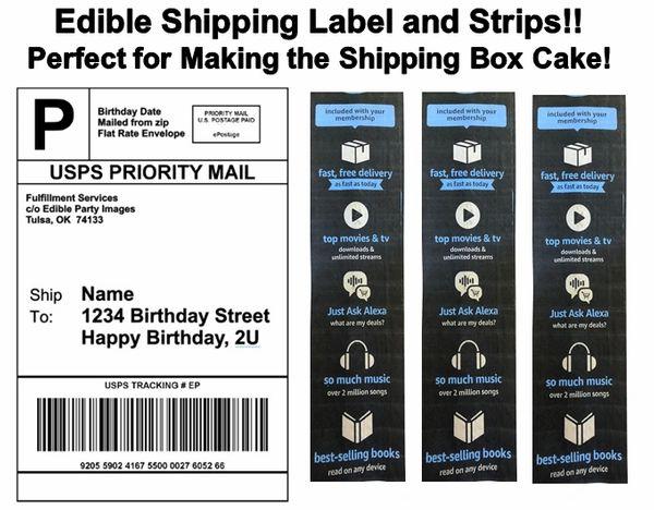 Amazon Shipping Label Tape Strips Box Cake Edible Cake Topper Image, Shipping Label Cake, Shipping Strips, Shipping Box Cake, Amazon Label Box Cake