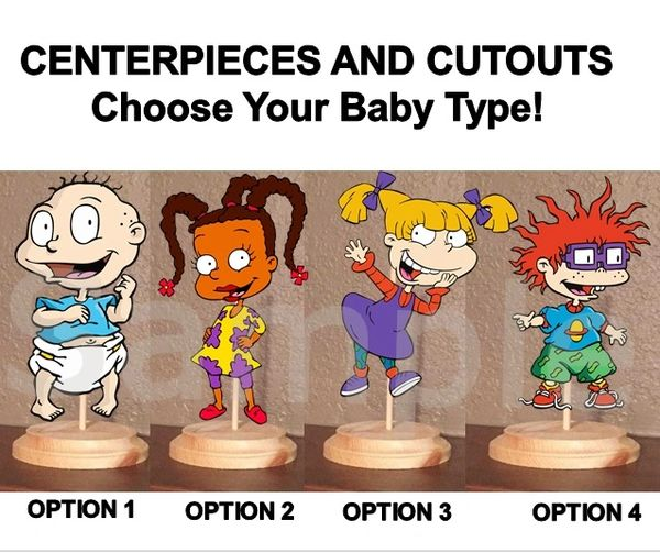 Pre Cut Rugrats Characters Centerpiece with Wood Stand OR Card Stock Cut Outs, Rugrats Party Centerpieces, Rugrats Cutouts Decorations