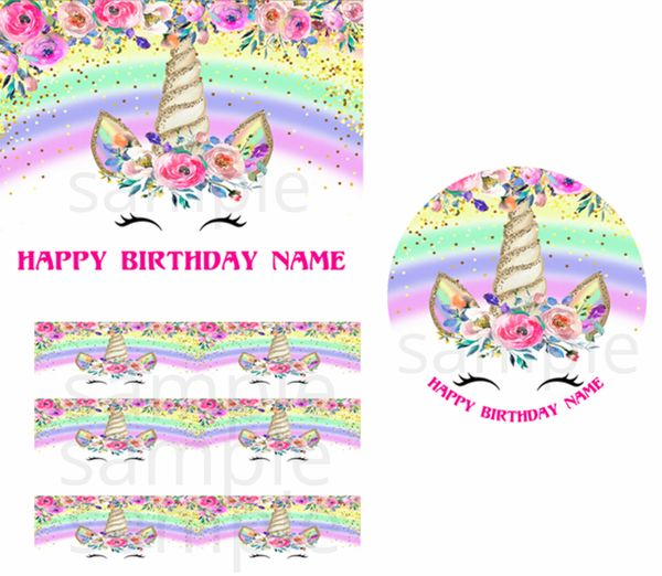 Rainbow Flowers Unicorn Face EDIBLE Cake Topper Image Topper Cupcakes, Unicorn Cake, Unicorn Party Supplies, Unicorn Gold Horn Flowers