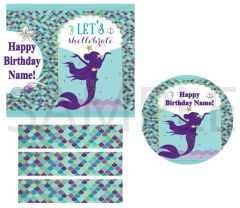 Purple Mermaid Girl Edible Cake Topper Image Cupcakes Shellebrate Mermaid Cake