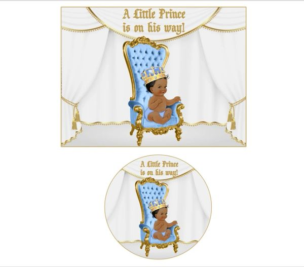 Light Blue and Gold Royal Little Prince on Throne Chair EDIBLE Cake Topper Image Cupcakes, Royal Prince Baby Shower, Royal Prince Theme