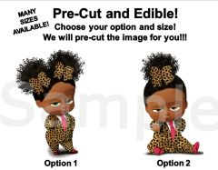 Pre Cut Cheetah Print Pink Tie Shoes African American Sassy Boss Baby Girl EDIBLE Cake Topper Cupcakes, Boss Baby Cake, Boss Baby Cheetah