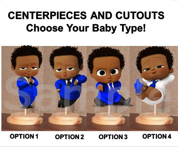 Pre Cut Bright Royal Blue Afro Hair Baby Boss Boy Centerpieces with Wood Stand OR Card Stock Cut Out, Baby Boss Centerpieces, Afro Boss Boy
