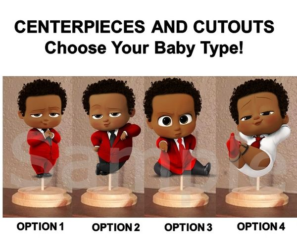Pre Cut Bright Red Black White Afro Hair Boss Baby Boy Centerpieces with Wood Stand OR Cut Outs,Boss Baby Centerpieces, Afro Boss Boy Red