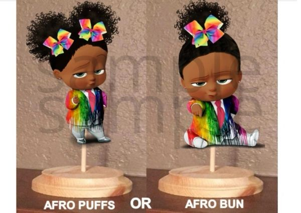 PRE CUT Dark Skin Melted Crayon Rainbow Boss Baby Girl Centerpiece with Wood Stand OR Card Stock Cut Out | Affordable Baby Shower Decoration