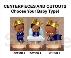 Pre Cut Blue African American Boss Baby Royal Prince Boy Centerpieces with Wood Stand OR Card Stock Cut Out, Baby Boss Centerpieces, Crown