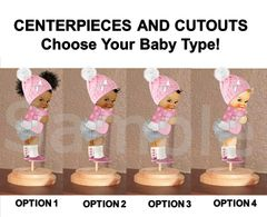 Pre Cut Pink Silver Baby It's Cold Winter Princess Babies of Color Centerpieces Wood Stand or Cut Outs, Oh Baby Winter Cold Outside Theme