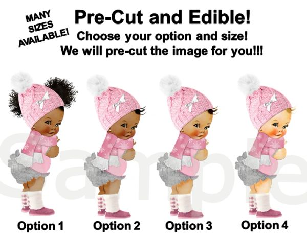 Pre Cut Pink Silver Baby It's Cold Winter Princess Babies of Color EDIBLE Cake Image Cupcakes, Babies of Color, Winter Baby Shower Cake Pink