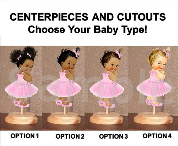 Pre Cut Candy Pink Tulle Party Dress Babies of Color Girls Centerpiece with Wood Stand OR Cut Outs, Pink Tulle Dress Ankle Ribbon Shoe Baby