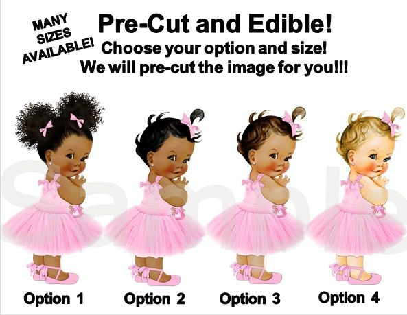 Pre Cut Candy Pink Tulle Party Dress Babies of Color Girls EDIBLE Cake Image Topper Cupcakes, Babies of Color, Pink Tulle Dress Baby Cake