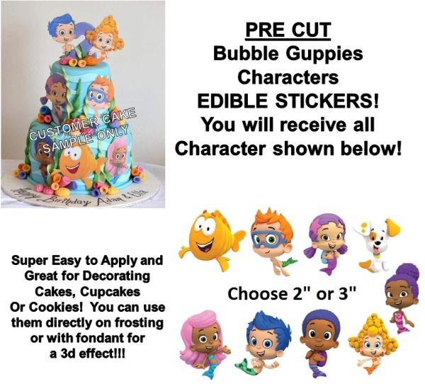 Bubble Guppies CHARACTERS Edible Cake Stickers Edible Decal Cut Outs Guppies