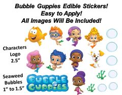 Bubble Guppies Characters Seaweed Bubbles Edible Cake Stickers Edible Decal Cut Outs Guppies